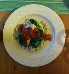 Balsamic Chicken with Spinach and Whole Wheat Couscous