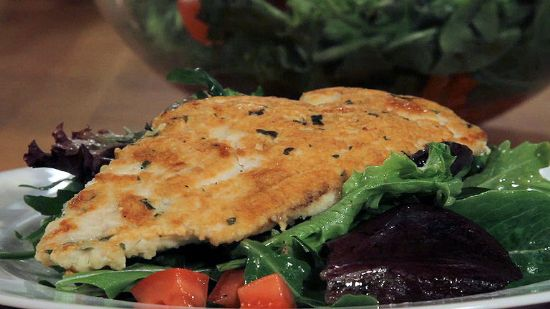 Parmesan Chicken with Tomato-Basil Salad (Chef Meg's Makeover)