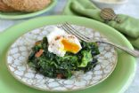Lisa's Sauteed Breakfast Greens with Poached Eggs and Bacon