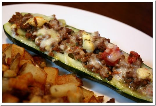 Greek Stuffed Zucchini Boats