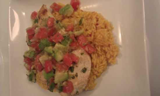 Cilantro-Lime Chicken w/ Avocado Salsa over Saffron Rice