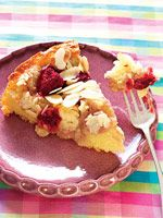 Fresh Raspberry-Mousse Almond Crumb Cake