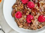 Spelt Berry Porridge with Granola, Dates, and Raspberries