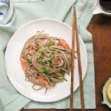 Hakubaku Soba Noodles and Smoked Salmon Recipe (on package)