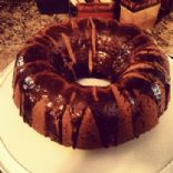 Pumpkin Spice Cake with Chocolate Drizzled Frosting
