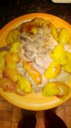Pork Chops with Sauteed Peaches and white wine sauce