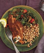 Cajun Tilapia with Black-eyed Peas and Stewed Collards