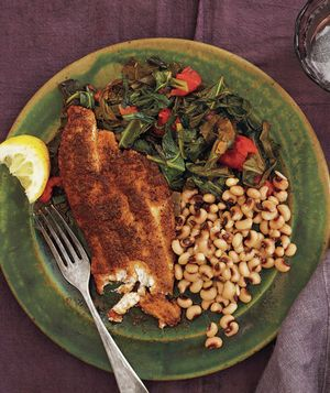 Cajun tilapia with black eyed peas and stewed collards for Wegmans fish fry