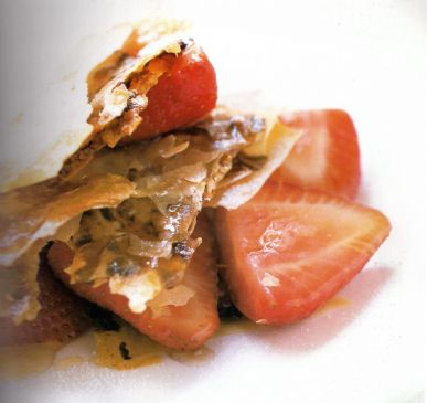 Strawberries with Nutty Filo