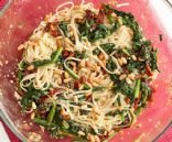 Skillet white beans, spinach & tomatoes over Linguine