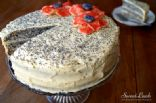 Poppy seed cake with vanilla custard