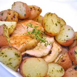 Oven Roasted Pork Tenderloin Wine, Onions, Potato and Carrots