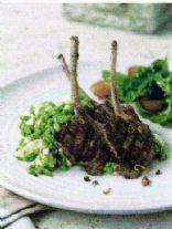 Harissa Lamb Cutlets w Crushed Baby Peas, Feta & Mint